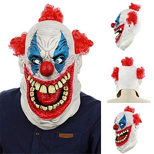 SWAOOS Máscara de Payaso de Horror de Halloween Máscara de Miedo Horrible Hombres Adultos Látex Pelo Rojo Payaso de Halloween Malvado Asesino Máscara de Payaso de Demonio Máscaras de Fiesta