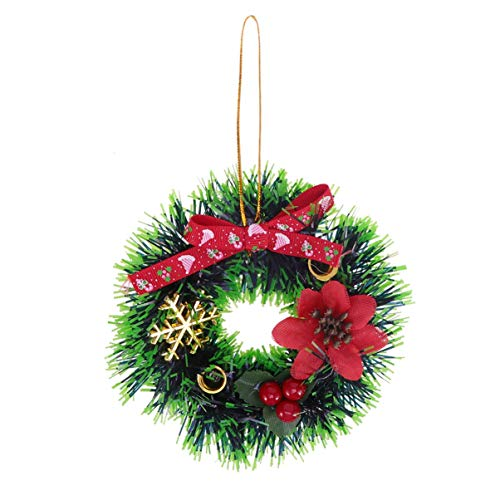 J.SCT-5 Mini Ornamento di Ghirlanda di Natale in PVC Creativo Appeso a Tema Classico Ciondolo Decorazione per Porta Regalo per la Festa a casa