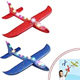 ANG® Airplane Toy Set of 2 Large Throwing Foam Plane with Led Flashing