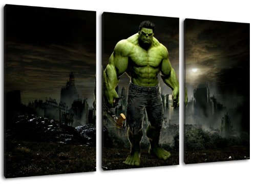 Dark Hulk Motiv, 3-teilig auf Leinwand (Gesamtformat: 120x80 cm), Hochwertiger Kunstdruck als Wandbild. Billiger als ein Ölbild! ACHTUNG KEIN Poster oder Plakat!