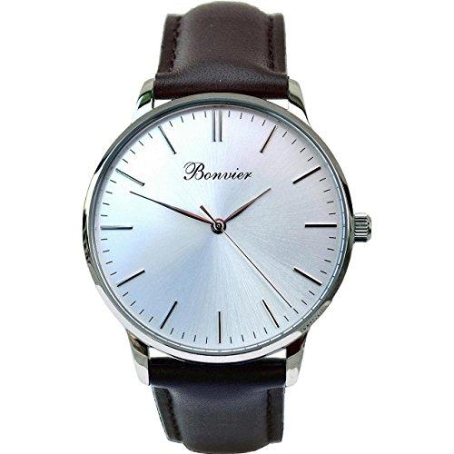 BONVIER Classic Herren-Armbanduhr 40MM Armband Leder Schwarz Batterie BW002