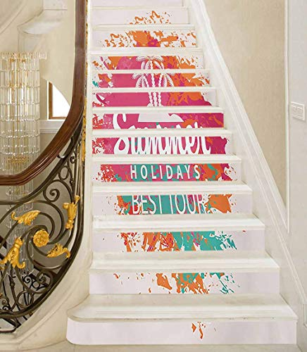 3D Stair Stickers Summer Holidays Best Tour Lettering with Palm Tree Island Rainbow Colored Image Print DIY Wall Mural Decorative Perfect Way to Change The Look in A Kitchen 39 x 7 Inch, 13 PCS