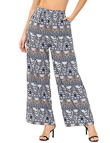 Zexxxy Pantalones Boho para mujer con pierna ancha y cintura alta floral S-XXL