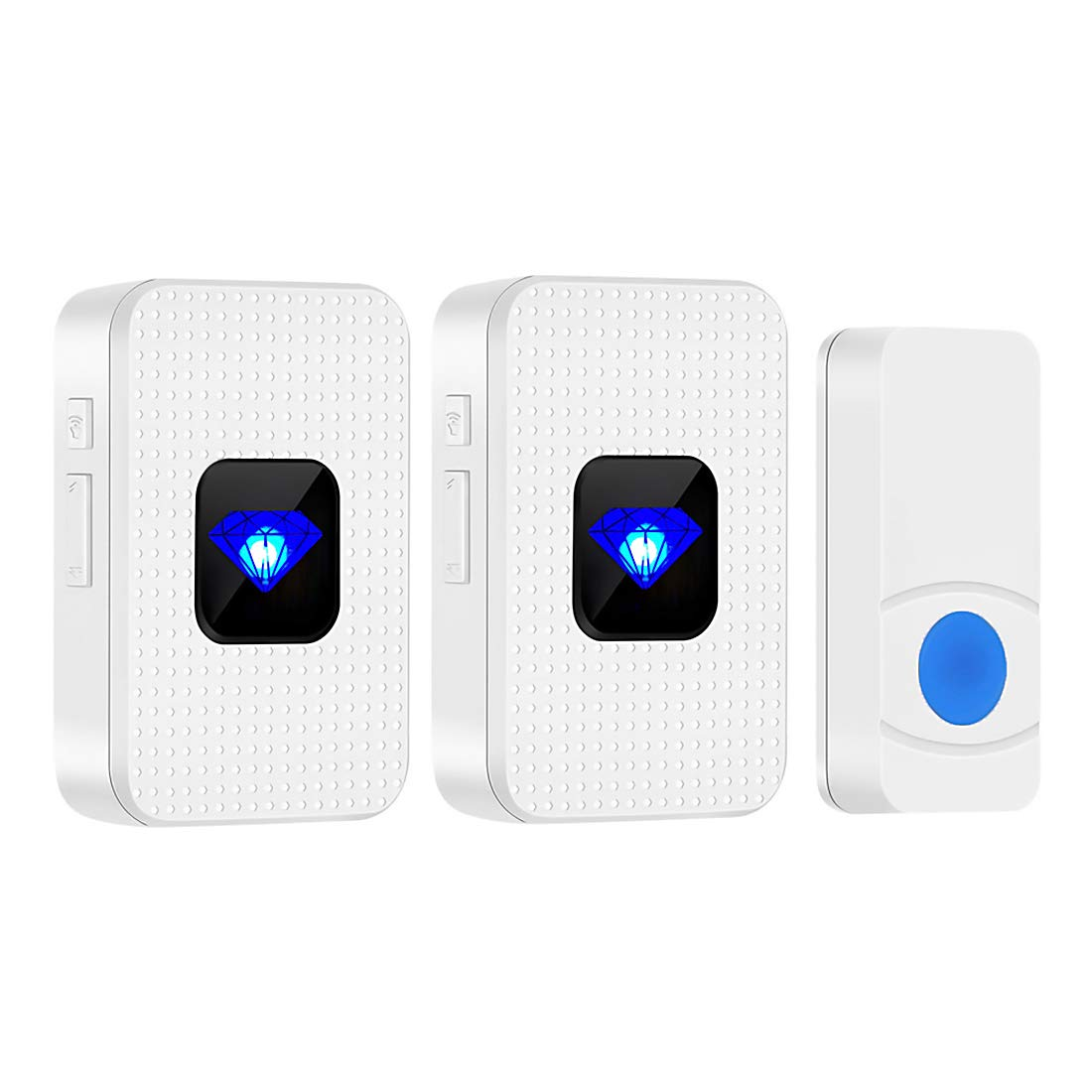 Cordless Doorbell with 2 receivers 300m Range Chime HUANHUA Wireless Doorbell Battery 55 Chimes 5 Level Volume /&LED Light for Family,Hotel,Hospital,Factory