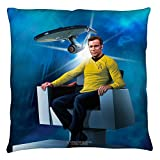 2Bhip Star Trek TV Series Kirk's Chair & Enterprise Blueprint Throw Pillow