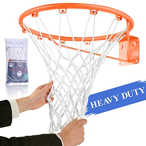 Spring Meow Basketballnetz, für den Außenbereich, strapazierfähig, Ersatz für Basketballkorb, passend für Standard-Innen- oder Außenbereich, 12 Schlaufenrand