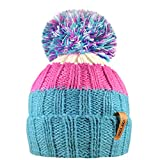 RockJock R80 Kids Girls Boys Ribbed Striped Thermal Insulating Bobble Hat with Cosy Fleece Lining