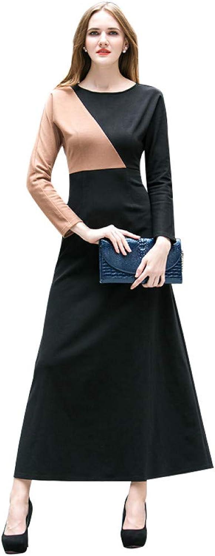 QAQBDBCKL Ladies Ol Style Cotton Elegant Vintage O Neck Long Dress Long Sleeves Patchwork Design Slim Waist Dress Large Size