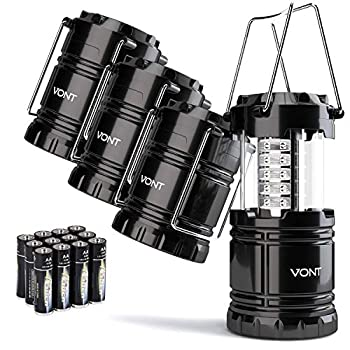 Vont 4 Pack LED Camping Lantern LED Lanterns Suitable Survival Kits for Hurricane Emergency Light for Storm Outages Outdoor Portable Lanterns Black Collapsible  Batteries Included