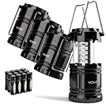 Vont 4 Pack LED Camping Lantern, LED Lanterns, Suitable Survival Kits for Hurricane, Emergency Light for Storm, Outages… 7 Bright & Lasting: Equipped with 30 crazy bright leds, this compact lantern cuts through 360 degrees of darkness on the stormiest, dimmest nights. Easily lights up the entire tent or room. Compact & Lightweight: Collapsible design that reduces or increases the light as you collapse or expand the lantern. When collapsed it's as small as your phone. Easily fits in your backpack or emergency kit. Waterproof: Constructed with aircraft grade materials: your lantern is able to survive a 10-foot drop and being temporarily submerged under water.
