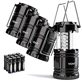 Vont 4 Pack LED Camping Lantern, LED Lanterns, Suitable Survival Kits for Hurricane, Emergency Light for Storm, Outages… 3 Bright & Lasting: Equipped with 30 crazy bright leds, this compact lantern cuts through 360 degrees of darkness on the stormiest, dimmest nights. Easily lights up the entire tent or room. Compact & Lightweight: Collapsible design that reduces or increases the light as you collapse or expand the lantern. When collapsed it's as small as your phone. Easily fits in your backpack or emergency kit. Waterproof: Constructed with aircraft grade materials: your lantern is able to survive a 10-foot drop and being temporarily submerged under water.
