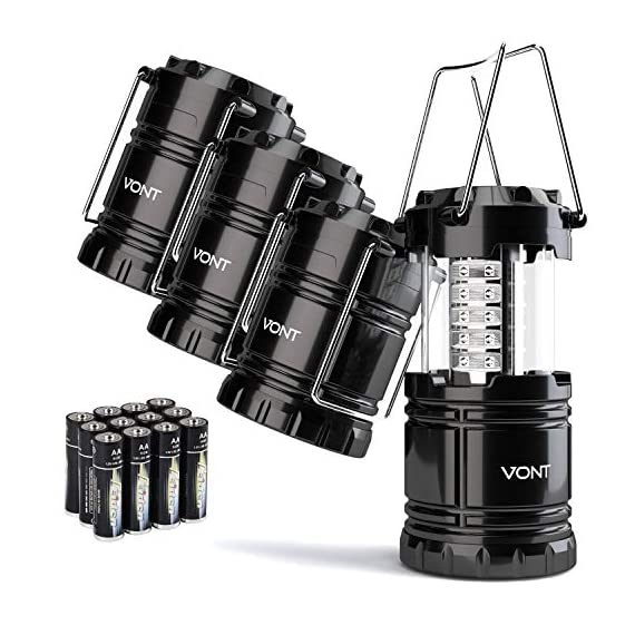 Vont 4 Pack LED Camping Lantern, LED Lanterns, Suitable Survival Kits for Hurricane, Emergency Light for Storm, Outages… 1 Bright & Lasting: Equipped with 30 crazy bright leds, this compact lantern cuts through 360 degrees of darkness on the stormiest, dimmest nights. Easily lights up the entire tent or room. Compact & Lightweight: Collapsible design that reduces or increases the light as you collapse or expand the lantern. When collapsed it's as small as your phone. Easily fits in your backpack or emergency kit. Waterproof: Constructed with aircraft grade materials: your lantern is able to survive a 10-foot drop and being temporarily submerged under water.