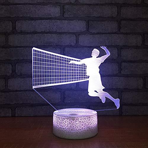 Nachtlicht des Volleyball-3d bunte kleine Kinderlampen-kreatives Hauptgeschenk, zum der Freund-3d Leuchten zu senden