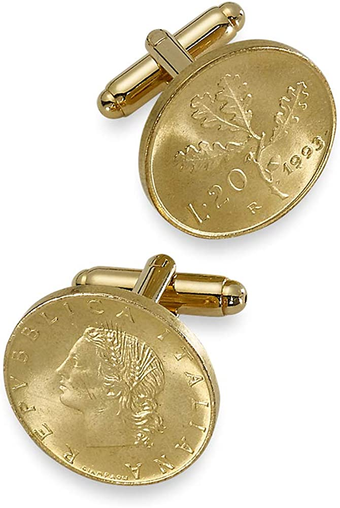 Paul Fredrick Men's Genuine Italian 20 Lire Coin (coins) Cufflinks