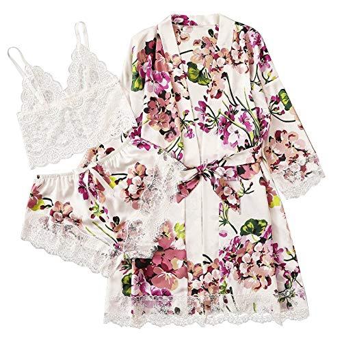 HCOO Zwei Stücke Nachtwäsche Satin Morgenmantel Damen Sexy Kimono Damen Bademantel Kurz V Ausschnitt mit Gürtel und Babydoll Dessous Negligee Nachthemd Damen Sexy für Valentinstag