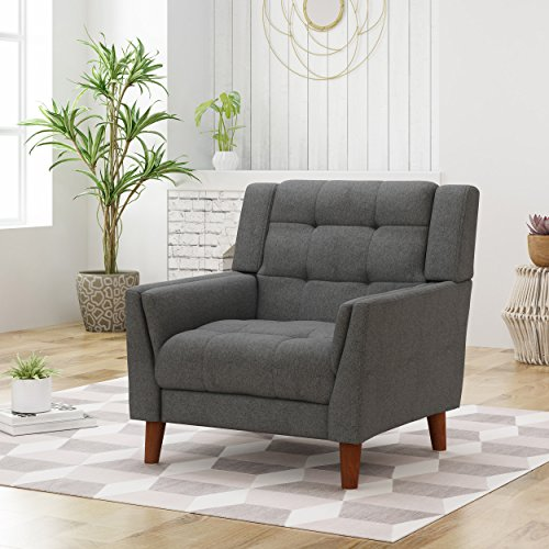 Christopher Knight Home Evelyn Mid Century Modern Fabric Arm Chair, Dark Gray, Walnut