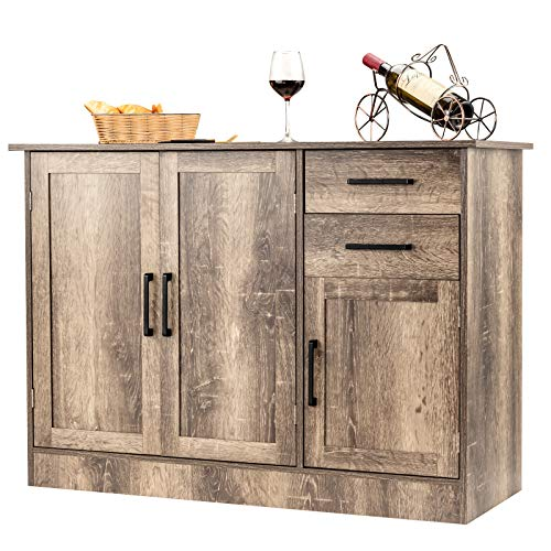 Giantex Buffet Server Sideboard Storage Cabinet Console Table Tableware Organizer Kitchen Dining Room Furniture, Entryway Cupboard with 2-Door Cabinet and 2 Drawers (Natural)