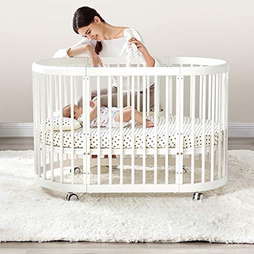 DUWEN Kinderbett Massivholz Multifunktions Babybett Europäischen Stil Kinderbett Kleinkind Bett Spleißen Bett Runden Bett