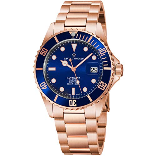 Revue Thommen Men's 17571.2165 'Diver' Blue Dial Rose Goldtone Stainless Steel Automatic Swiss Made Watch