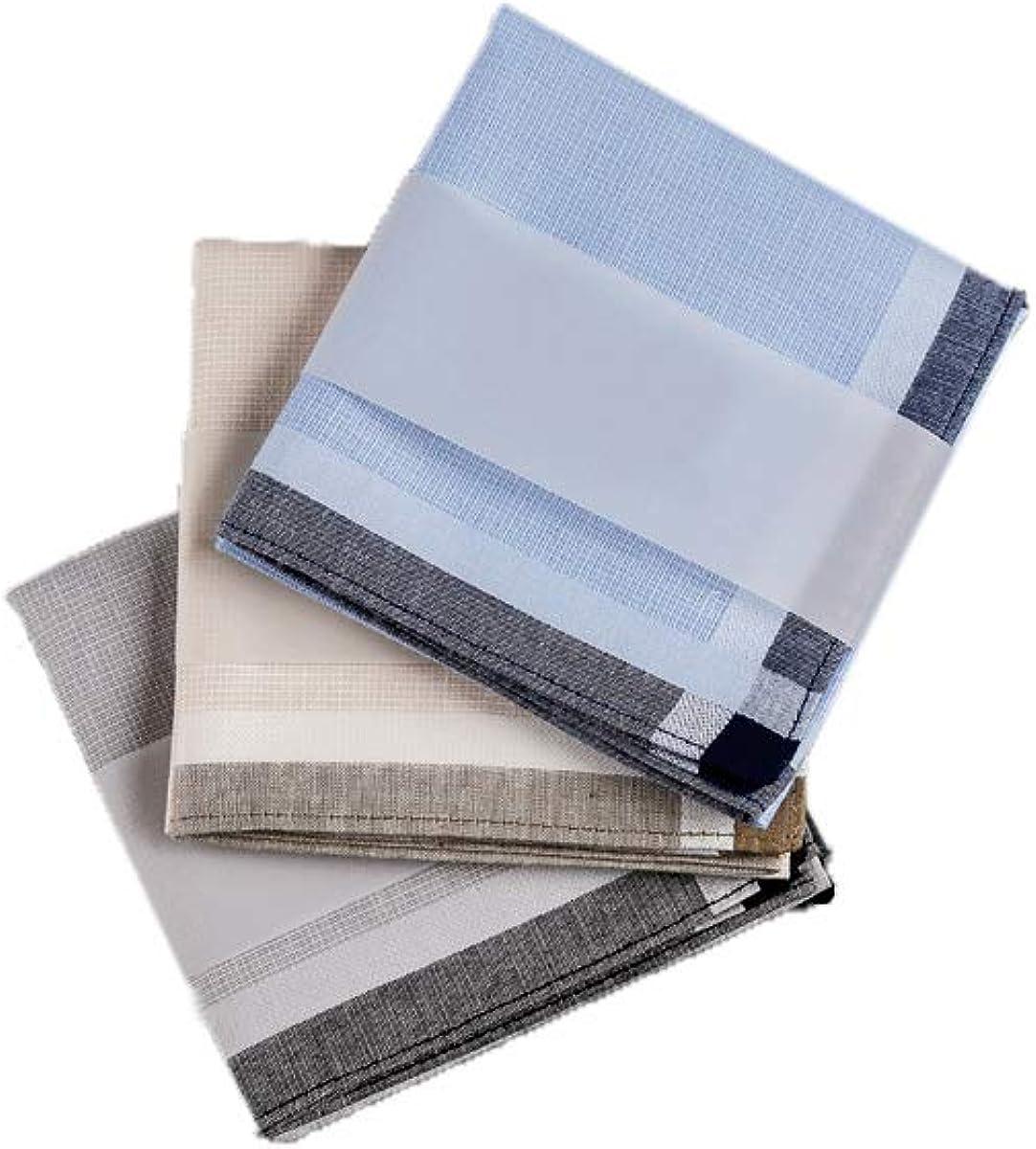 zelue Men's 100% cotton Stripe Soft Checkered Pattern Handkerchiefs assorted color pack of 3gift set by zelue