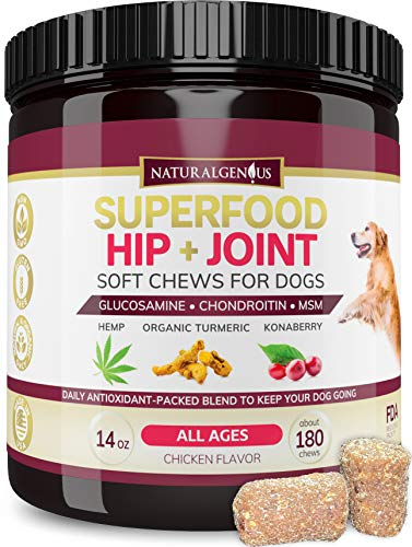 Natural Genius Superfood Hip & Joint Supplement for Dogs, 180 Soft...