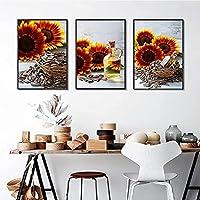 ファッション絵画3個50x70cmフレームレスモダンレトロヒマワリ花種子絵画ポスター印刷壁アートリビングルーム写真家の装飾