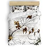 Duvet Cover Set Queen Size, Realtree Camo 4-Piece Bedding Sets Decorative for Childrens/Kids/Teens/Adults, 1 Bed Sheet 1 Comforter Cover with 2 Pillow Case, Winter Season