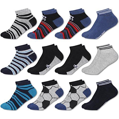 MC.TAM® Herren Jungen Bunte Sneaker Socken 12 Paar 90% Baumwolle Oeko Tex® Standard 100, 35-38, 12 Paar Jungen Sneaker