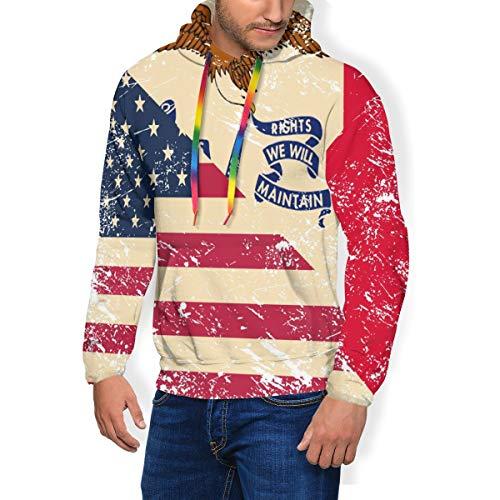 HZamora_H Retro USA and Iowa State Flag Men's Thick Hoodie Winter Sweatshirts Comfy Long Sleeve Jacket Black