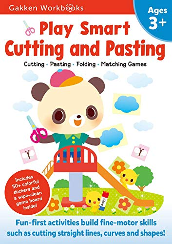 Play Smart Cutting and Pasting Age 3+: Ages 3-5 Practice Scissor Skills for Preschool, Strengthen fine-motor skills: Cutting lines and shapes, Gluing, Stickers, Mazes, Counting, and More