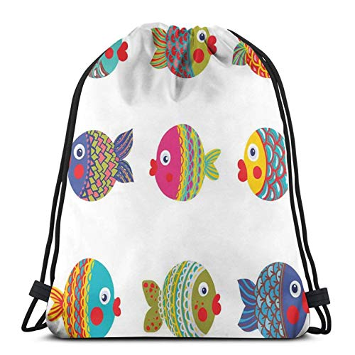 Gym Drawstring Bags Backpack,Boho Ethnic Featured Ornate Fishes Gills Under The Sea Childish Kids Nursery Theme,Unisex Drawstring Backpack