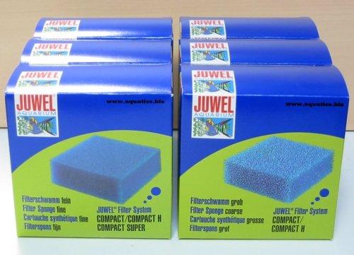 JUWEL Filter Fine & Course Compact Schwamm, Großpackung (3 + 3)