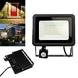 Luz de Seguridad LED con Sensor de Movimiento RIR, Reflector LED de 50W IP66 a Prueba de Agua, Ideal para Patio, jardín, Garaje