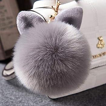 12 cm Rabbit Ears Fur Ball Bag Charms with Golden Keyring Pom Pom Fluffy Fur Ball Keychain for Car Keyring Charm Gift  Gray