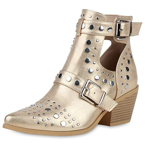 SCARPE VITA Damen Stiefeletten Ankle Boots Cut Out Booties Nieten Leder-Optik Schuhe Schnallen Spitze Kurzschaft-Stiefel 193269 Gold 37