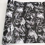 Hong TTH - 10/20/30/40/50X152CM Adhesive PVC Graffiti Skull Sticker Camouflage Vinyl Wrap Skull Car Motorcycle Mirror Roof Hood Decal Film (50cm x 300cm, No 2)