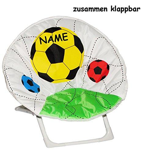alles-meine.de GmbH Fußball - Stabiler + Leichter - Liegestuhl / Campingstuhl / Klappstuhl - incl. Name - aus Metall mit Stoff bezogen - für Circa 1 - 5 Jahre - Faltsessel - falt..