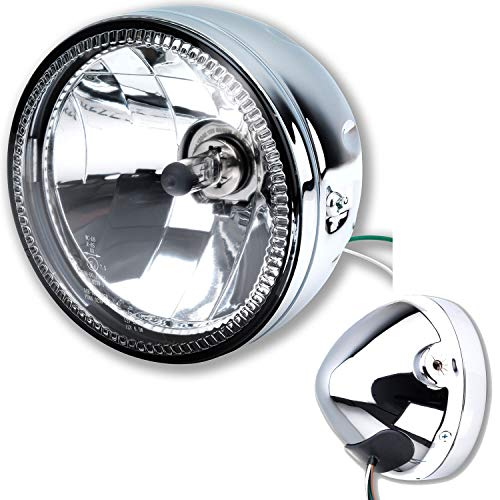 LED Motorrad Scheinwerfer Skyline H4 Chrom Klar Glas 5 3/4 Zoll e geprüft
