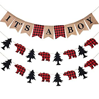 3 Pieces It s a Boy Banner Lumberjack Theme Banner Buffalo Plaid Banner Garland Woodland Animal Camping Banner for Baby Shower Lumberjack Party Supplies Hunting Party Birthday Parties