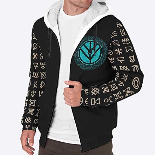 Fineiwillgo Viking - Sudadera con capucha para hombre, de invierno, cálida Plus, de terciopelo, con cordón, con cremallera, color blanco, 3XL