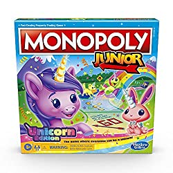 professional Monopoly Junior: Unicorn Edition board game for 2-4 players, magical home game for kids …