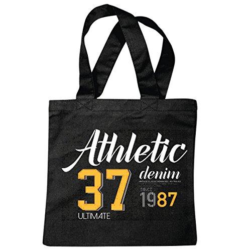 Reifen-Markt sac à bandoulière NEW YORK ATHLETIC 37 DEMIN 1987 USA AMÉRIQUE LOS ANGELES CALIFORNIA BROOKLYN NEW YORK CITY MANHATTAN RUGBY BASEBALL FOOTBALL FOOTBALL Sac école Turnbeutel en noir
