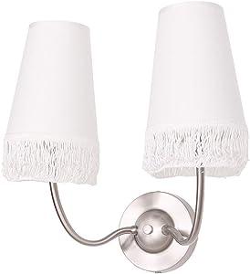 Lámpara de pared con pantallas de tela y pompón, color crema, 2 focos. Lámpara de pared 2 x E14 máx. 40 W 230 V lámpara 35 cm de alto – 37 cm de ancho.