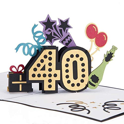 40th Birthday Pop Up Card | 40th Birthday Cards For Him or Her, Son, Daughter, 40th Birthday Gifts |...