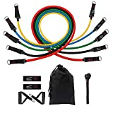 100 lbs Resistance Bands Set,5 Stackable Exercise Bands with Door Anchor & Handles,Waterproof Carry Bag, Legs Ankle Straps for Musle Training, Physical Therapy, Shape Body,Home Workouts (11 PCS)