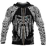 Viking Tattoo Zip Up Odin's Eye with Raven 3D Printed Hoodies Harajuku Pullover Unisex Jacket Zipper Hoodie L