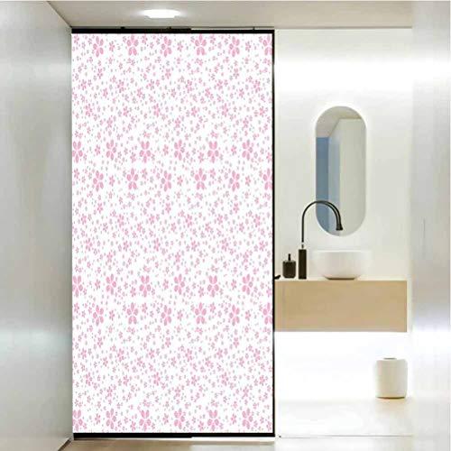Sticker pour fenêtre de salle de bain Company - Fleurs de cerisier - Jolies fleurs roses sur bac, décoration de salle de bain et de toilettes - 23 x 35 cm