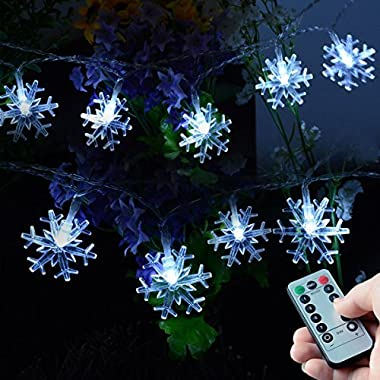 Homeleo 50 LED Cold White Snowflake LED Fairy Lights with Remote Control, Battery Powered Snowflake Shaped LED String Lights for Chrismas, Party, Wedding, New Year, Garden Décor