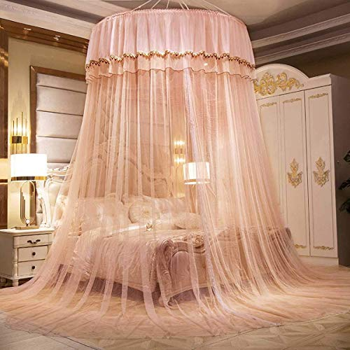 JIAJBG Gran Romántico Romántico Cúpula Mosquitera Neta Decoración de Ropa de Cama Princesa Cama con Cama de Cama para Dormitorio Interior Azul Malla lavable/naranja