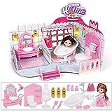 RuiDaXiang Maison de poupée, Salle de Bain avec mobilier, éclairage, Mini poupée.Jouets Dollhouse pour Les Filles (Salle de Bains- Rose)